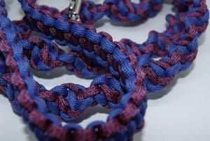 Red & Blue helix braid dog leash