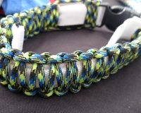 Green, blue, black paracord LED collar size L
