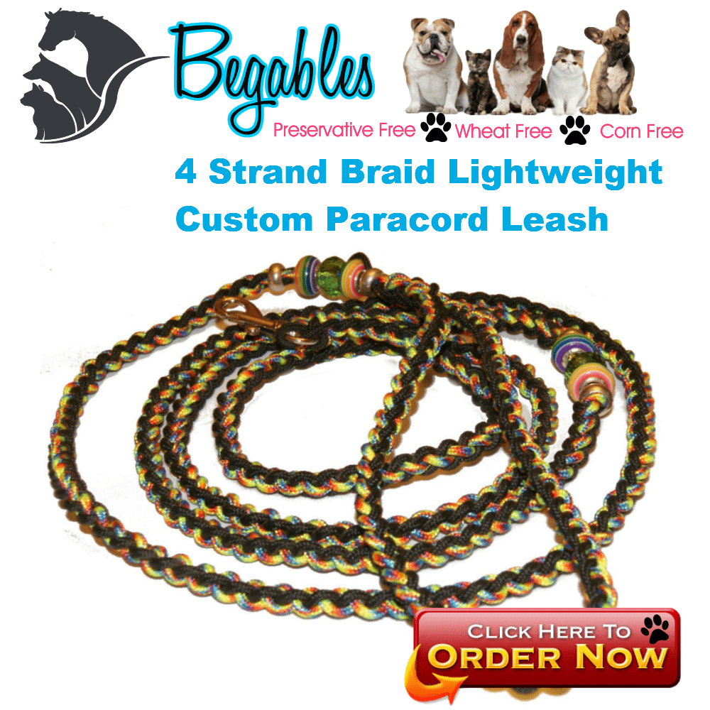 4 Strand Lightweight Custom Paracord Leash - Begables Treats