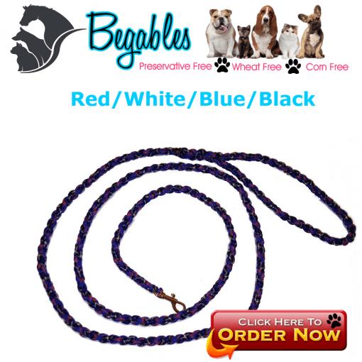red/white/blue/black leash
